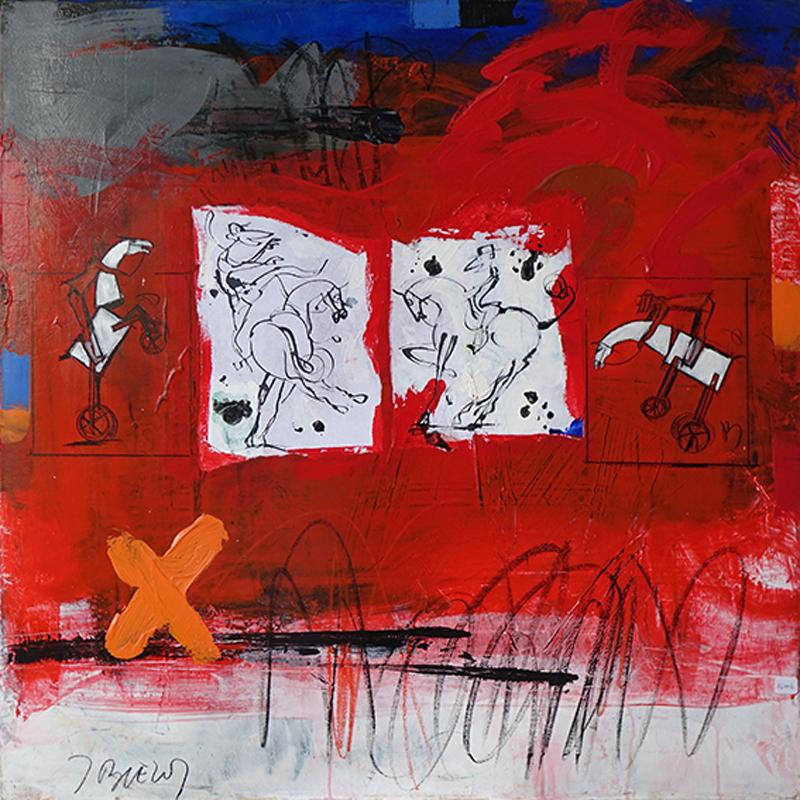 Chevaux rouges - 80 x 80 cm