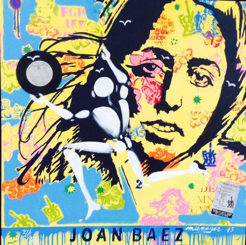 Joan Baez - Collaboration IZA zaro / Messager - 100 x 100 cm