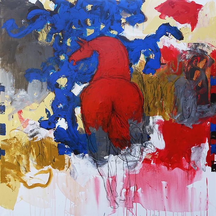 Jacques Blézot - Red horse - 150 x 150 cm