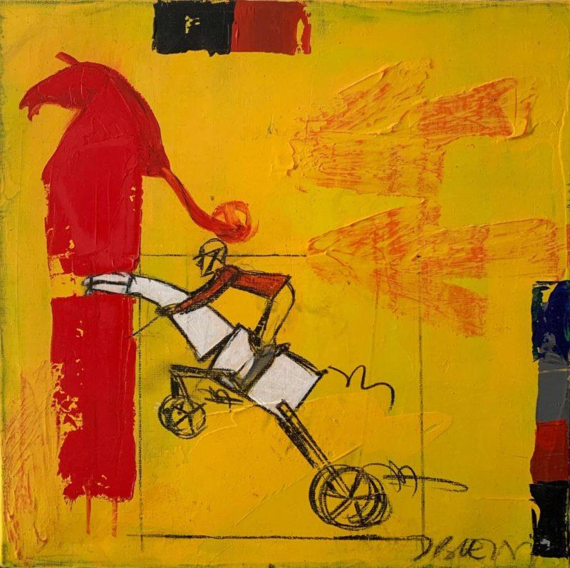 Jacques Blézot - Cheval rouge - 40 x 40 cm