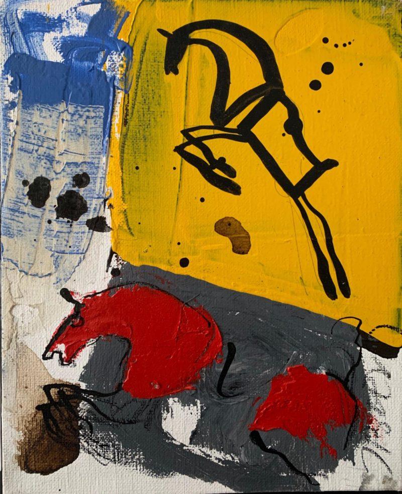 Jacques Blézot - Abstraction autour du cheval - 27 x 22 cm