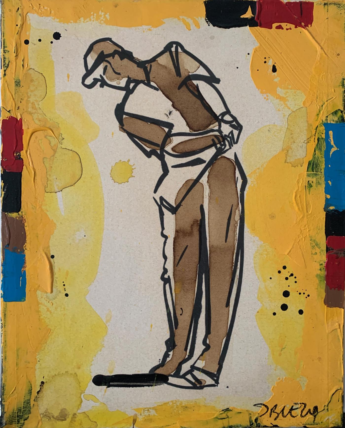 Jacques Blézot - Leçon de golf  - 33 x 41 cm