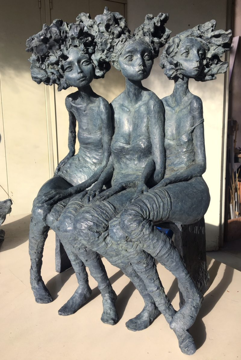 Valérie Hadida - Trio de femmes - bronze - 50 cm