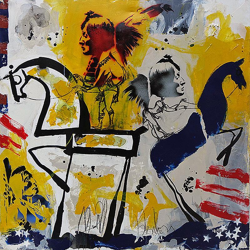 Jacques Blézot - Le cheval jaune et l'indien - 120 x 120 cm