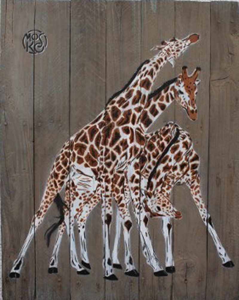 Mosko - 3 girafes sur bois brut - 60 x 45 cm