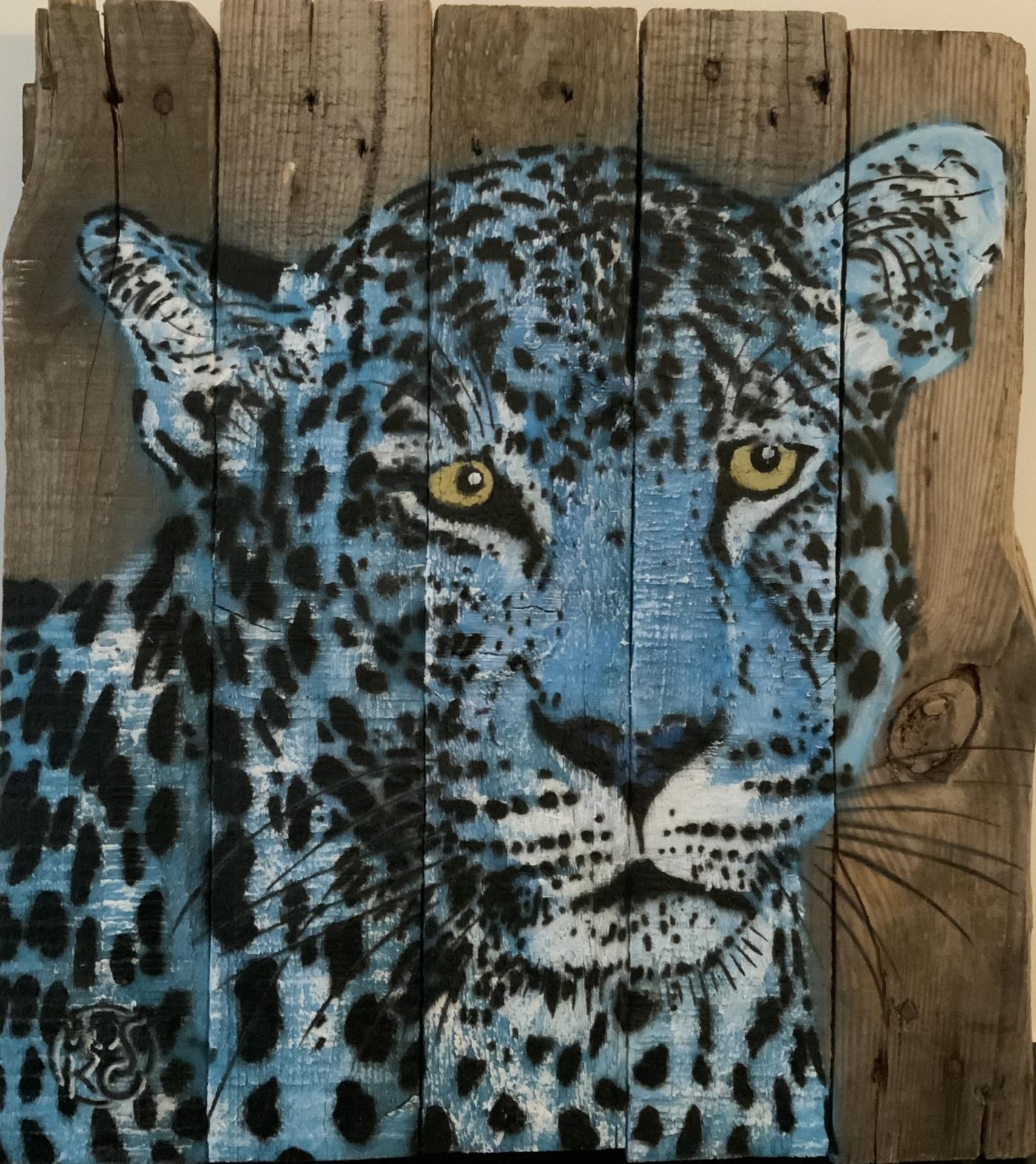 Mosko - Panthère, buste bleu - Spray et acrylique sur bois brut - 36 x 40 cm