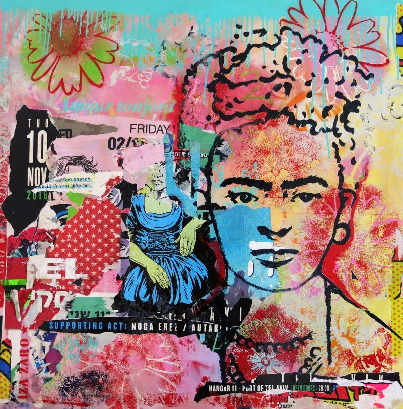Frida K. - Techniques mixtes sur toile - 90 x 90 cm
