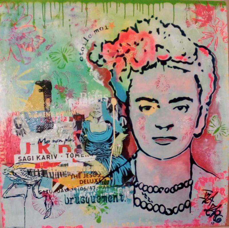 Frida K - Techniques mixtes sur toile, caisse américaine, 100 x 100 cm