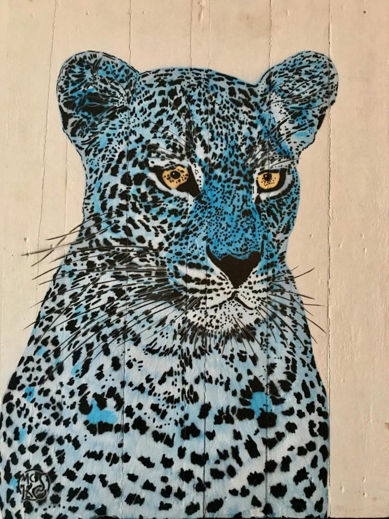 MOSKO - Panthère - Buste bleu - Acrylique et pochoir sur bois blanc- 88 x 63 cm