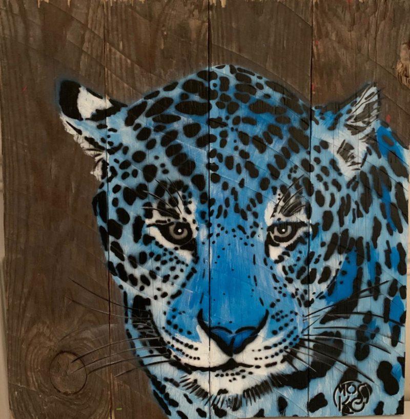 Mosko - Panthère bleue - bois brut - 40 x 38 cm - 2019