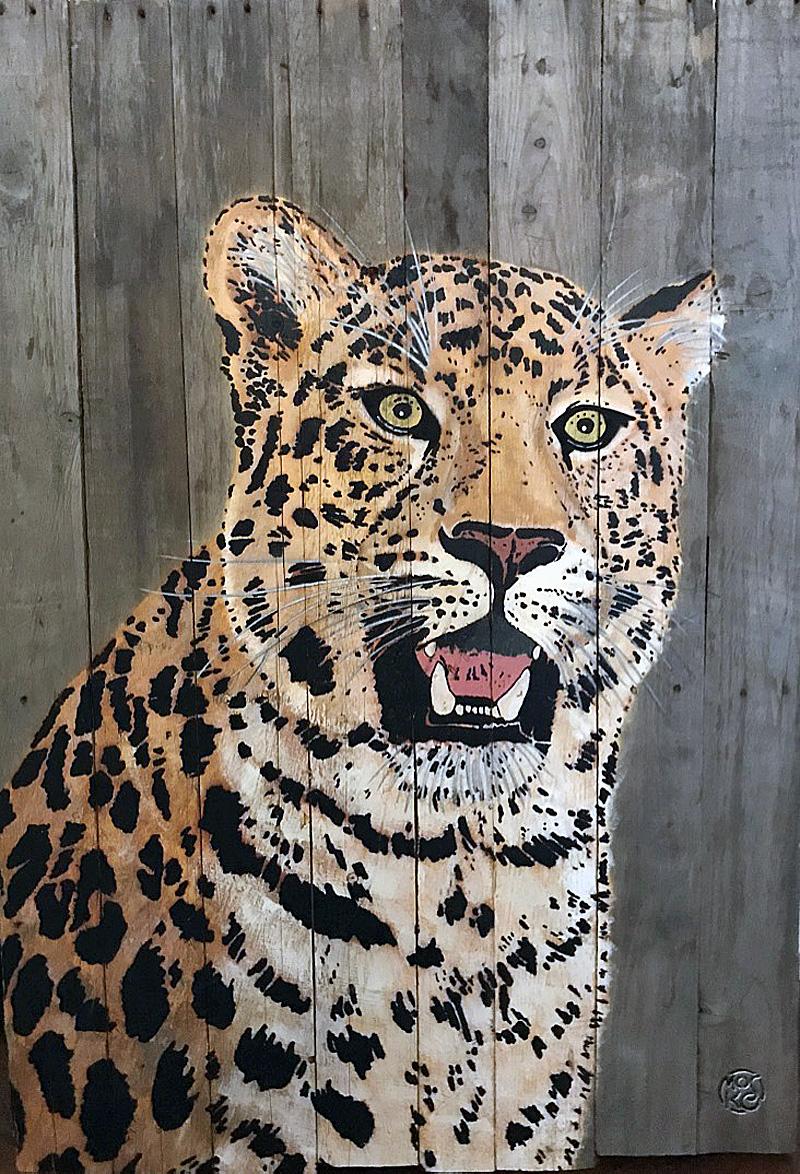 MOSKO - Panthère buste - Acrylique et pochoir sur bois brut - 88 x 60 cm