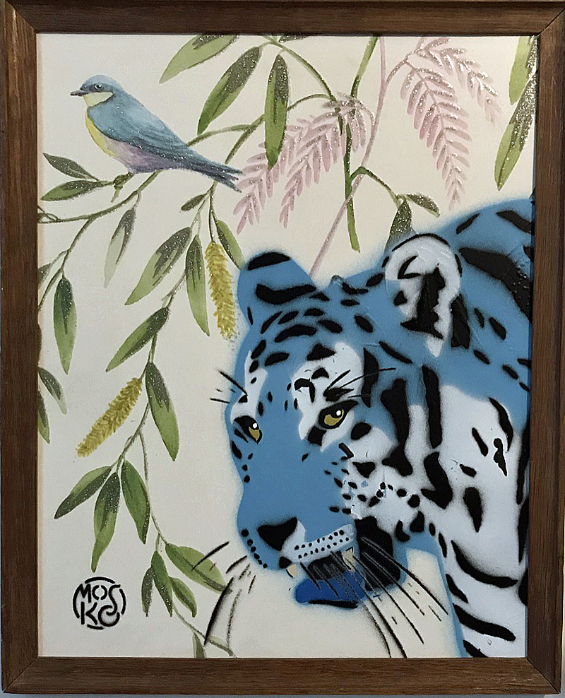 Mosko - Petit tigre sur papier peint marouflé, encadré - 32 x 46 cm