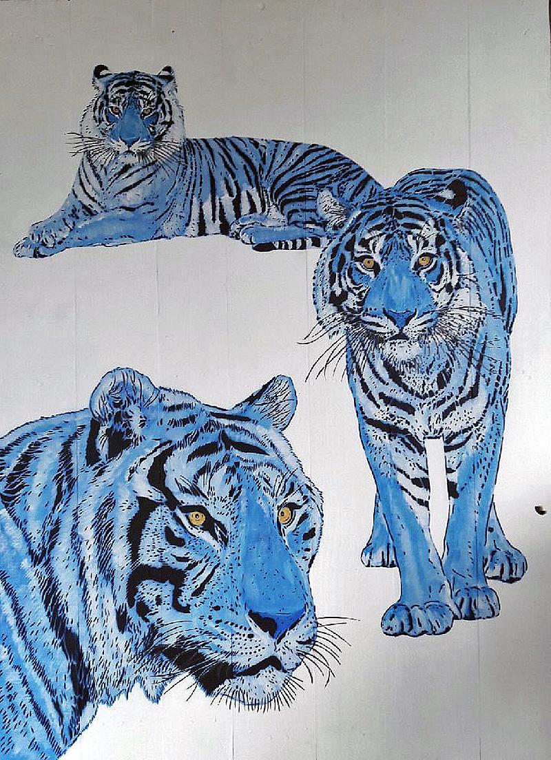 MOSKO - Tigres - Acrylique et pochoirs sur bois peint - 160 x 111 cm