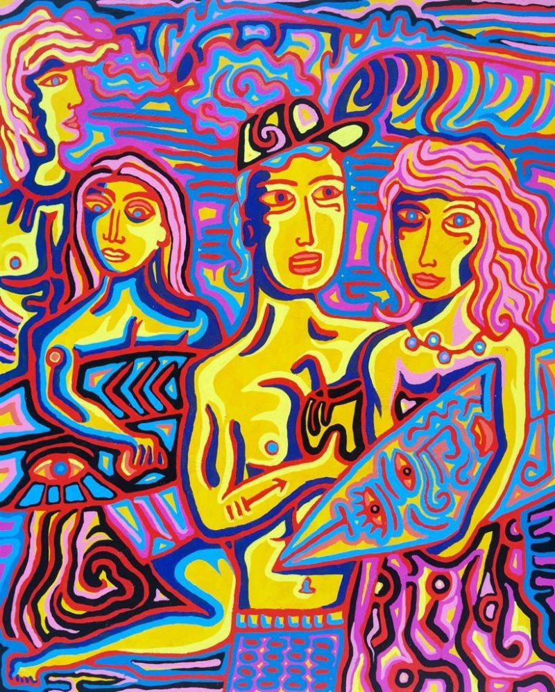 Julien Calot - Uluwatu - Techniques mixtes sur toile - 130 x 162 cm