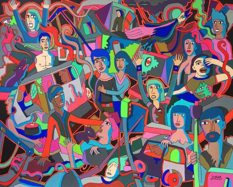 Julei Calot - Earthquake - Techniques mixtes sur toile - 130 x 162 cm
