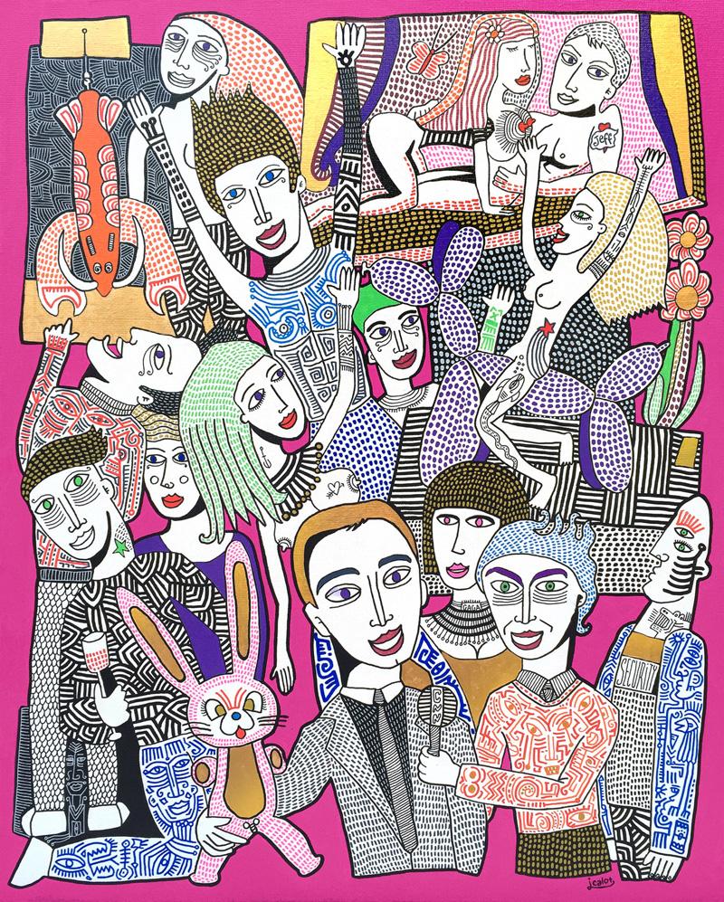 Julien Calot -Petite soirée avec Koons et Gaga -Acrylique sur toile - 81 x 65cm-2016
