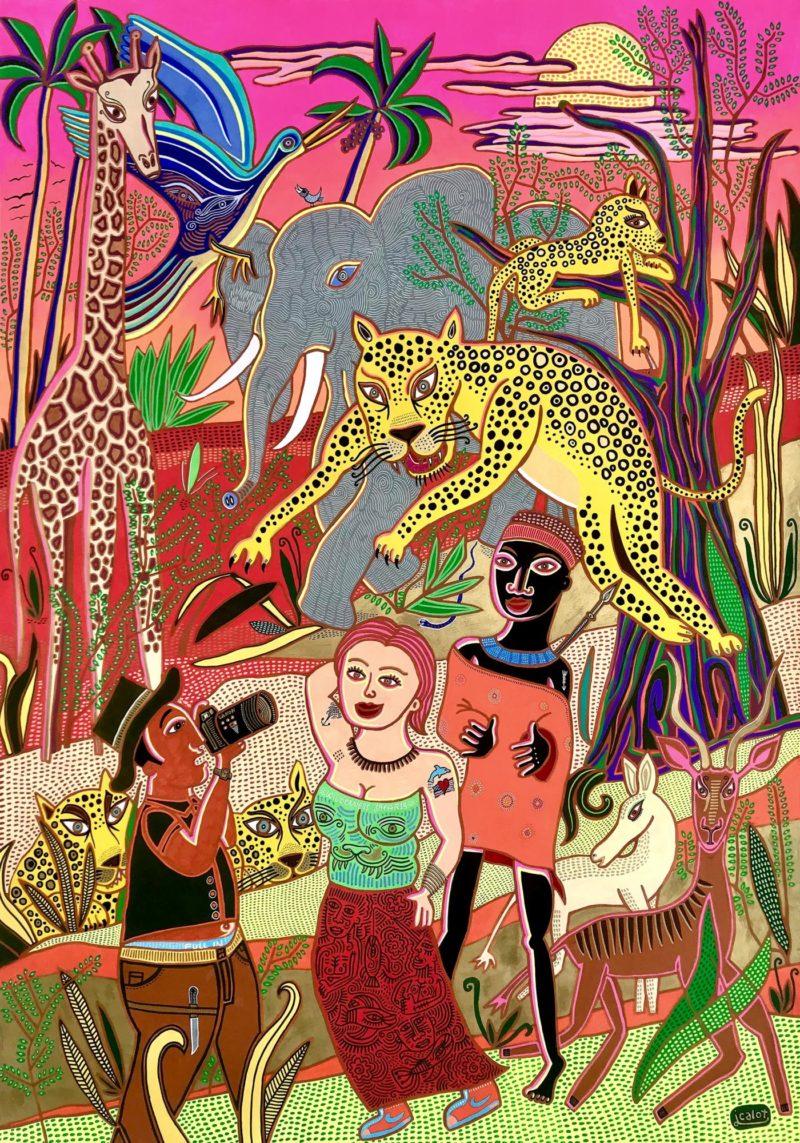 Julien Calot - The Bushman and the American couple - Oeuvre marouflée  sur toile - Techniques mixtes - 2018 -  L75 x H104,5 x P3,5 cm