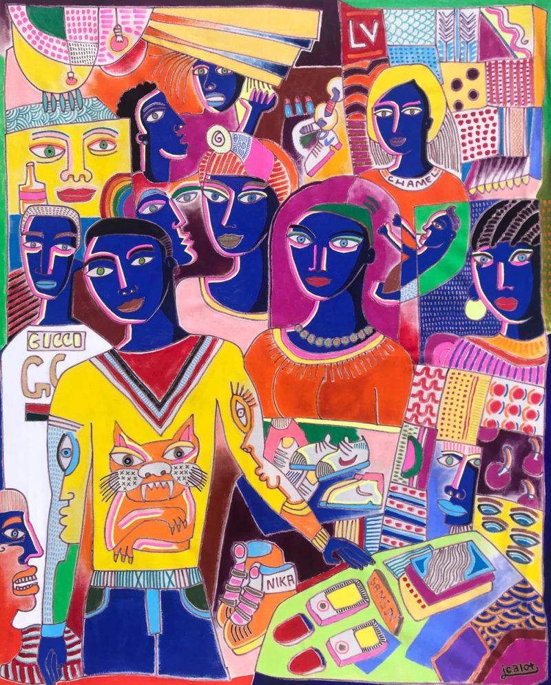 Julien Calot - Le marché de Praia - Acrylique sur toile - 2018 - H146 x L114 x P2,5 cm