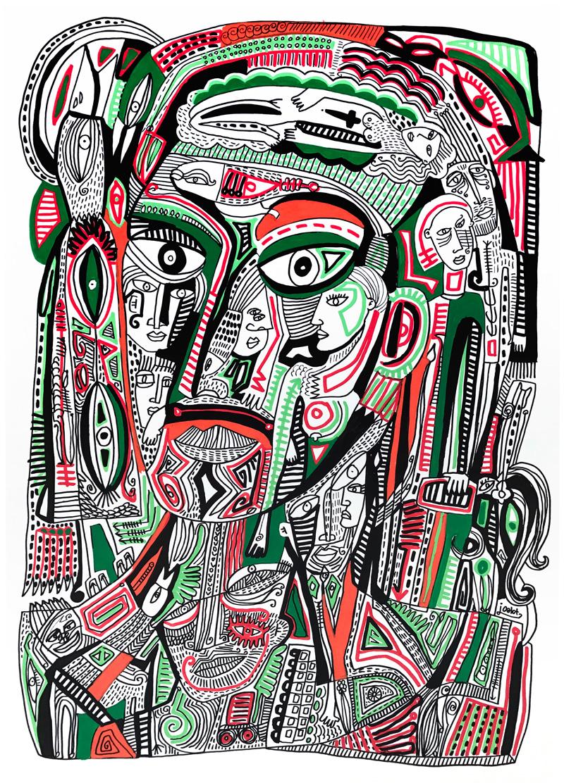 Julien Calot-Inside my head -Acrylique sur papier - 42 x 60 cm - 2017
