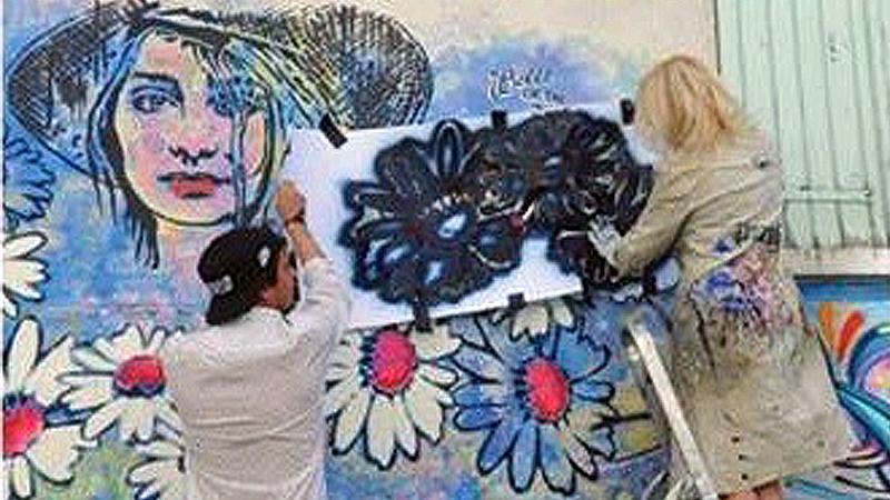Création d'une fresque signée IZa Zaro