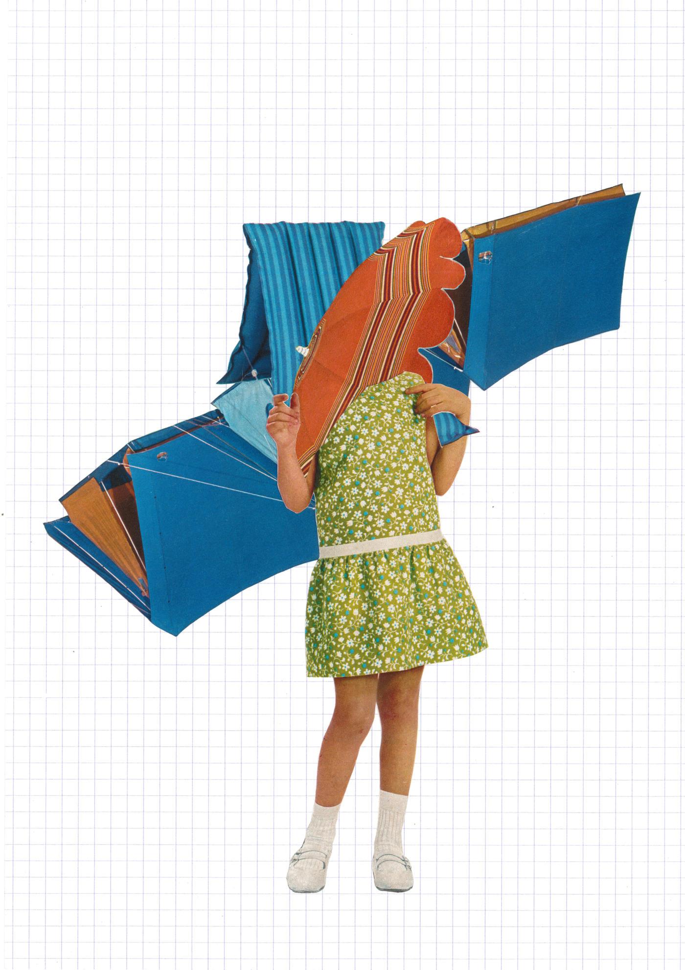 Anne Laure Maison - Femme-Maison (les prémisses) verte -  collage sur papier carreau 29 x 20 cm, cadre 32 x 42 cm
