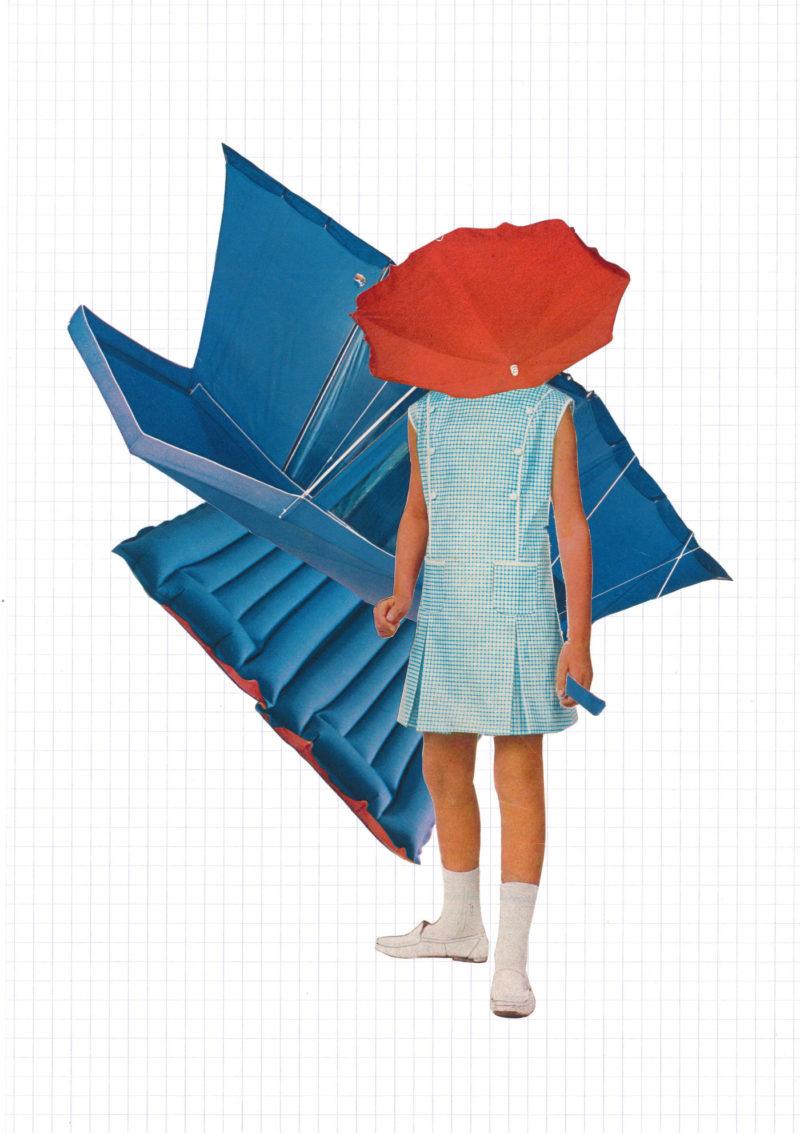 Anne Laure Maison - Femme-Maison (les prémisses) bleue - collage sur papier carreau 29 x 20 cm, cadre 32 x 42 cm