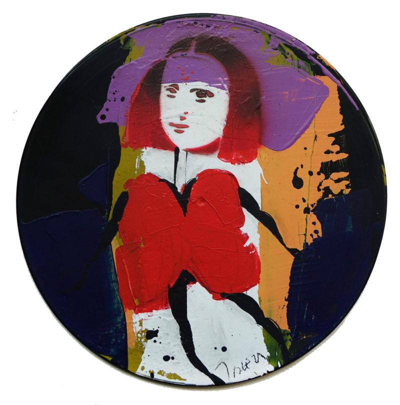Jacques Blézot - La Joconde en robe papillon rouge - Techniques mixtes sur vynile - 30 cm