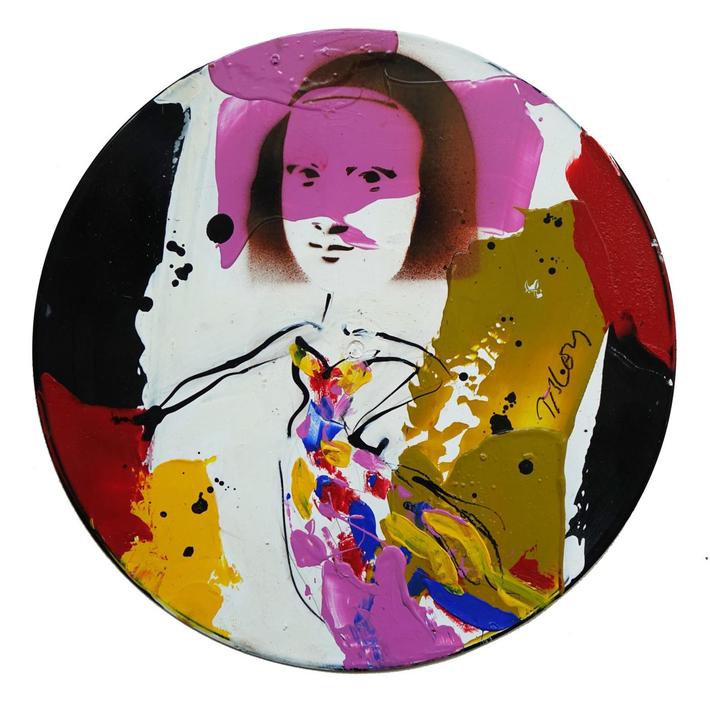 Jacques Blézot - La Joconde en robe noire et rose - Techniques mixtes sur vynile - 30 cm
