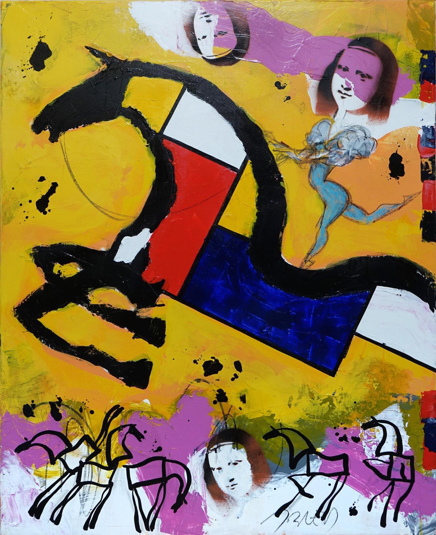 Jacques Blézot - Mondrian et les Joconde - Techniques mixtes sur toile - 92 x 73 cm