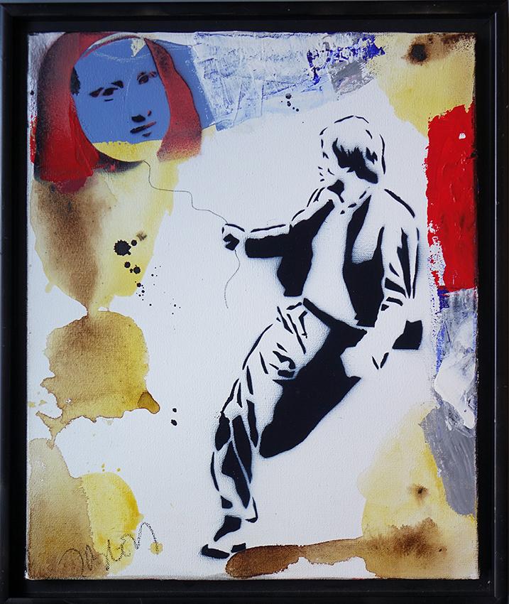 Jacques Blézot - L'envol du ballon Joconde- Techniques mixtes sur toile - 46 x 38 cm
