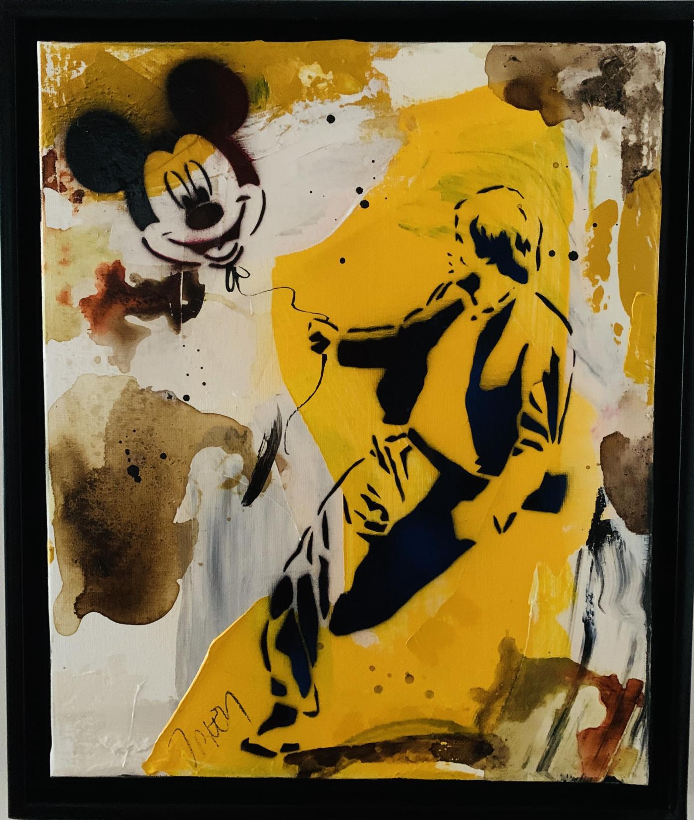 Jacques Blézot - L'envol du ballon Mickey - Techniques mixtes sur toile, caisse américaine - 50 x 43 x 5 cm