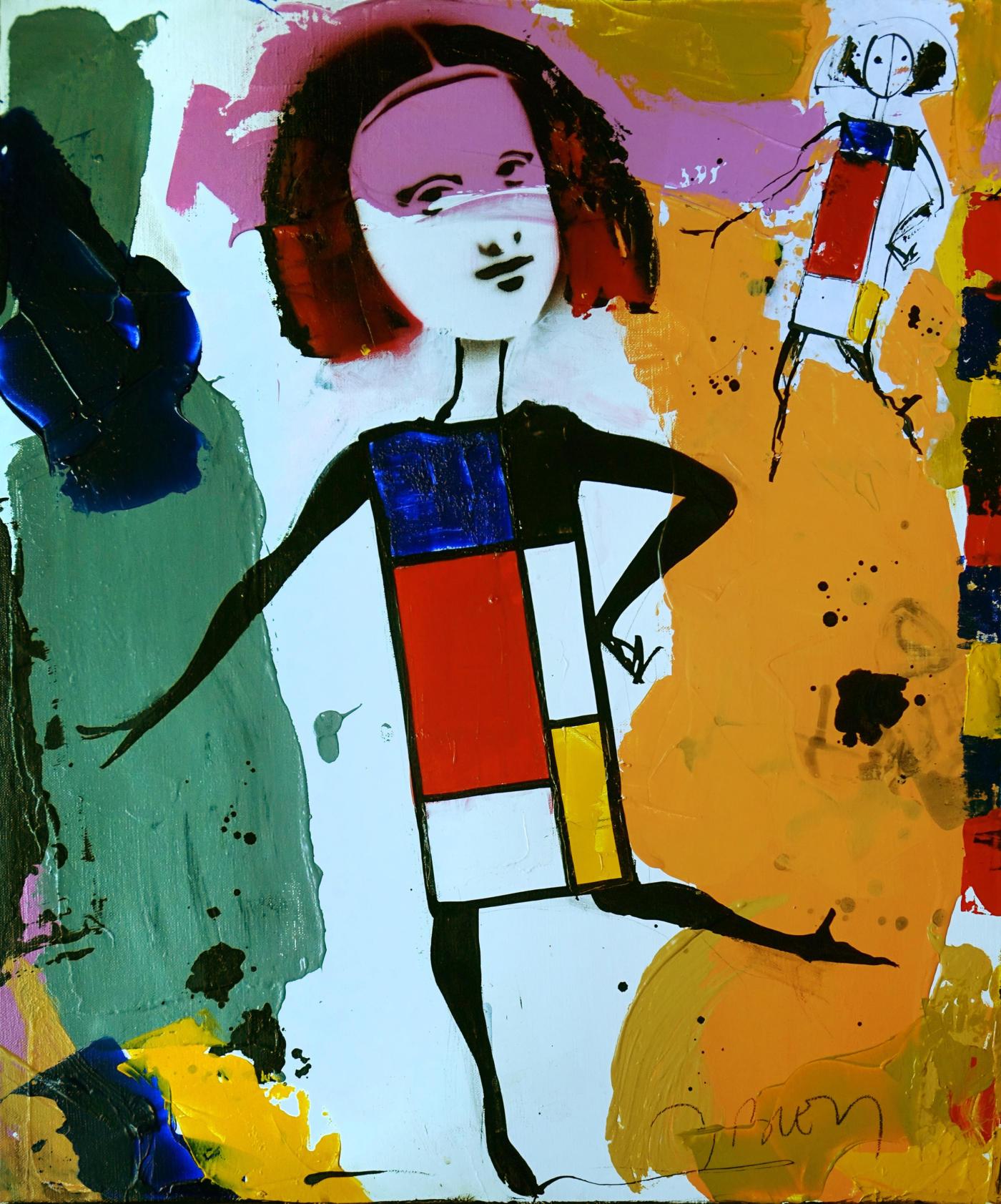Jacques Blézot - La Joconde en Mondrian - Techniques mixtes sur toile - 64 x 53 cm