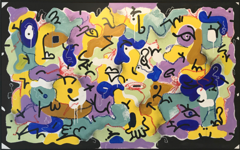 Louis Bottero - Limodorum, 2019, 95 x 160 cm - technique mixte sur toile.