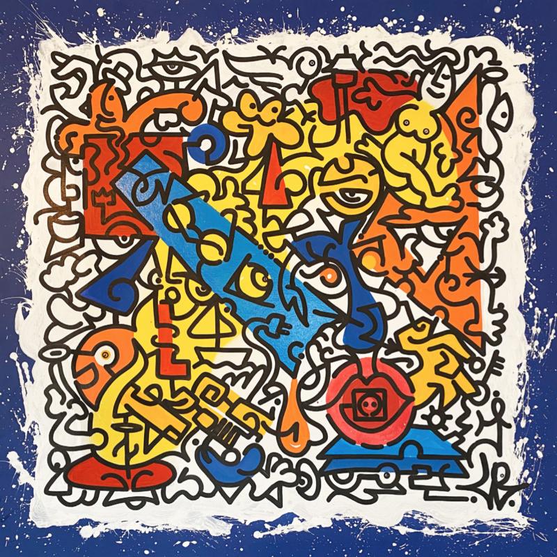 Louis Bottero - Écumes Électriques, 2019 - 130 x 130 cm - acrylique et aérosol sur toile