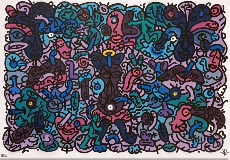 Louis Bottero - Holoserica Sommia, 2015 - 81 x 116 cm - technique mixte sur toile