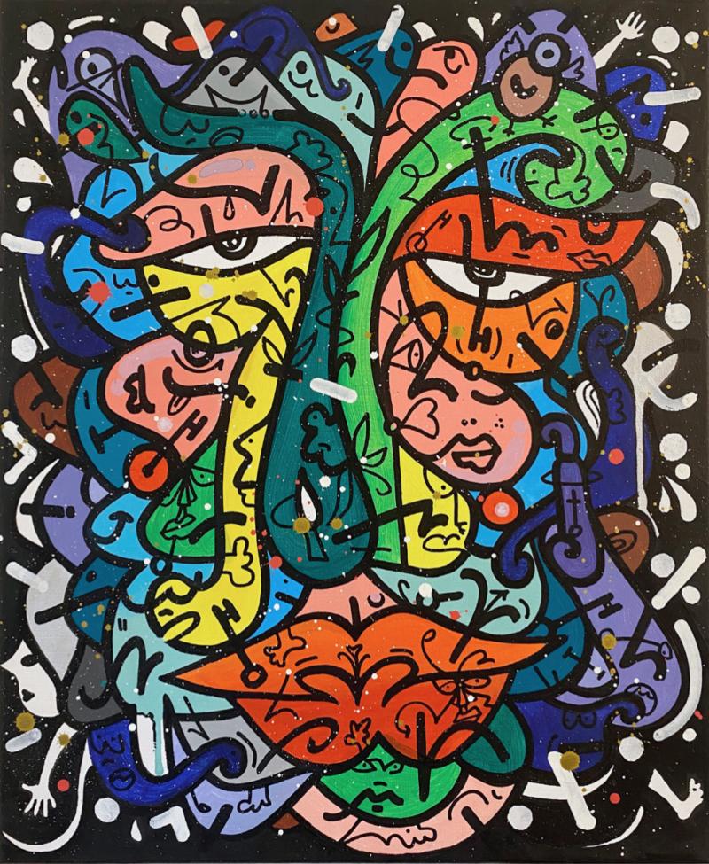 Louis Bottero - Fruity Loops Man, 2015, 60 x 50, acrylique et aérosol sur toile