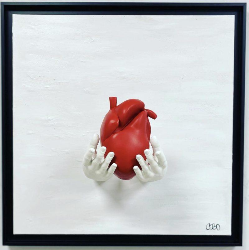 Cobo - White Heart  - 60 x 60 cm - Peinture acrylique et sculpture résine sur toile - Caisse américaine