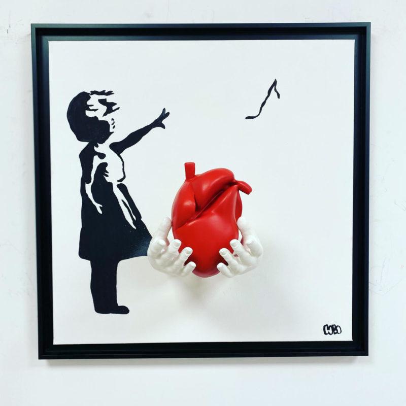 Cobo - Le cœur de Banksy - 60 x 60 cm - Peinture et sculpture résine sur toile - Caisse américaine