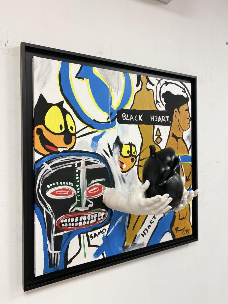Cobo - Black Heart  - 60 x 60 cm - Peinture acrylique et sculpture résine sur toile - Caisse américaine