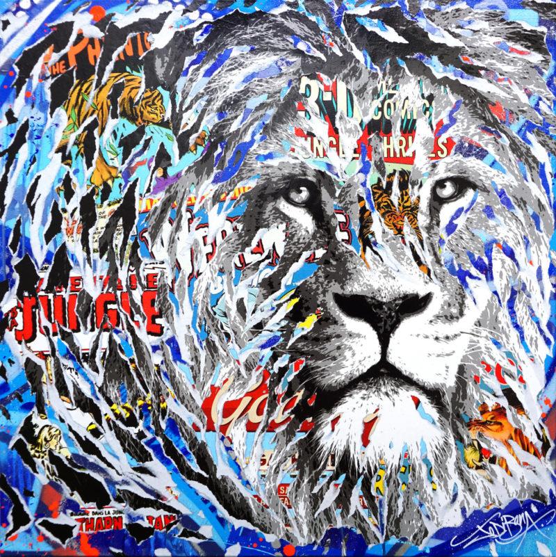 Jo Di Bona - The blue lion - Techniques mixtes sur toile - 80 x 80 cm