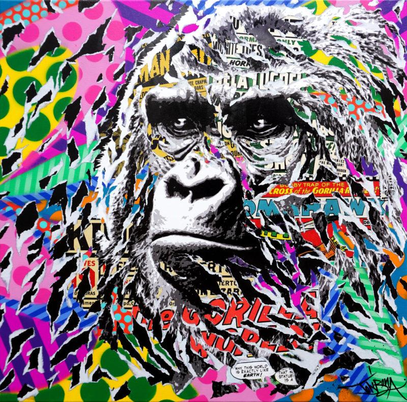 Jo di Bona - Britto Gorilla - techniques mixtes sur toile - 80 x 80 cm